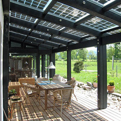 Photovoltaic panel covered patio.